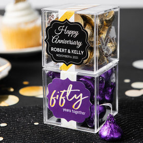 Personalized 50th Anniversary JUST CANDY® favor cube with Hershey's Kisses