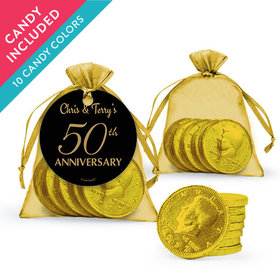 Personalized 50th Anniversary Favor Assembled Organza Bag, Gift tag with Milk Chocolate Coins
