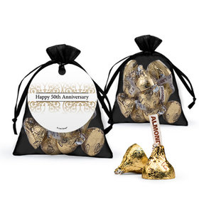 Personalized 50th Anniversary Favor Assembled Organza Bag with Hershey's Kisses