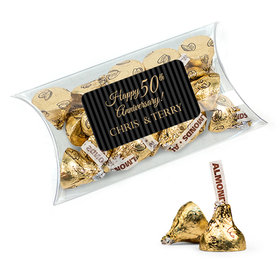 Personalized 50th Anniversary Favor Assembled Pillow Box with Hershey's Kisses