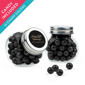 Personalized 50th Anniversary Favor Assembled Mini Side Jar with Sixlets