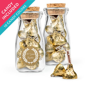 Personalized 50th Anniversary Favor Assembled Glass Bottle with Cork Top with Hershey's Kisses