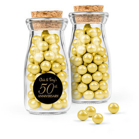 Personalized 50th Anniversary Favor Assembled Glass Bottle with Cork Top with Sixlets