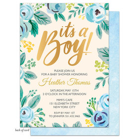 Bonnie Marcus Collection Personalized Watercolor Blossom Boy Invitation
