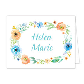 Bonnie Marcus Collection Watercolor Blossom Wreath Blue Thank You