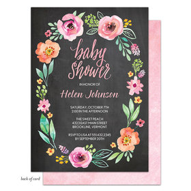 Bonnie Marcus Collection Personalized Watercolor Blossom Wreath (Chalkboard)Invitation