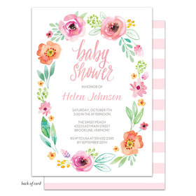 Bonnie Marcus Collection Personalized Watercolor Blossom Wreath (Pink) Invitation