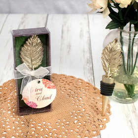 Personalized Wedding Gold Leaf Bottle Stopper