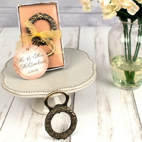 Personalized Wedding Bronze Floral Wreath Bottle Opener