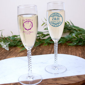 Personalized Wedding 5.75oz Twisted Champagne Flutes