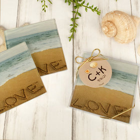 Personalized Wedding Glass Coaster- Beach Love