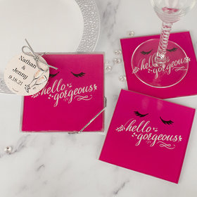 Personalized Wedding Glass Coaster- Hello Gorgeous