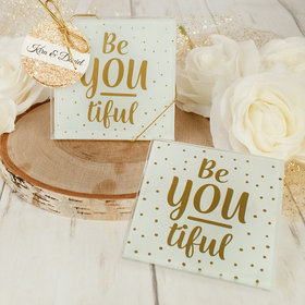 Personalized Wedding Glass Coaster- Be-YOU-tiful