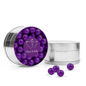Personalized Wedding Favor Assembled Small Round Plastic Tin with Sixlets