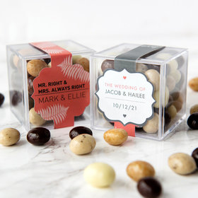 Personalized Wedding JUST CANDY® favor cube with Premium New York Espresso Beans