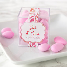 Personalized Wedding JUST CANDY® favor cube with Jordan Almonds