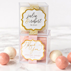 Personalized Wedding Sweet Candy in a Cube with Premium Malted Milk Balls