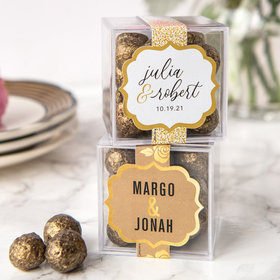 Personalized Wedding JUST CANDY® favor cube with Premium Sparkling Prosecco Cordials - Dark Chocolate