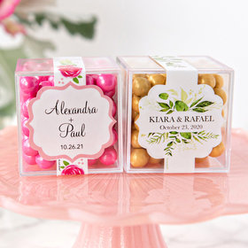 Personalized Wedding JUST CANDY® favor cube with Sixlets Chocolate