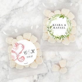 Personalized Wedding Candy Bags with Jelly Belly Champagne Bubble Gumdrops