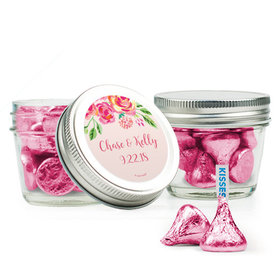 Personalized Wedding Favor Assembled Small Mason Jar with Hershey's Kisses