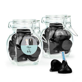 Personalized Wedding Favor Assembled Swing Top Jar with Hershey's Kisses