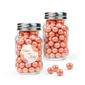 Personalized Wedding Favor Assembled Mini Mason Jar with Sixlets