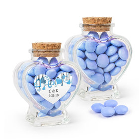 Personalized Wedding Favor Assembled Heart Jar with Just Candy Milk Chocolate Minis
