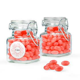 Personalized Wedding Favor Assembled Swing Top Square Jar with Just Candy Jelly Beans