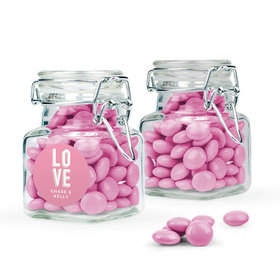 Personalized Wedding Favor Assembled Swing Top Square Jar with Just Candy Milk Chocolate Minis