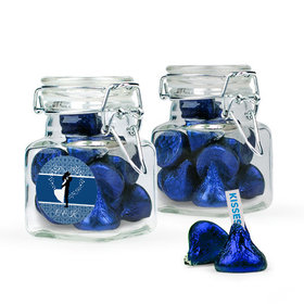 Personalized Wedding Favor Assembled Swing Top Square Jar with Hershey's Kisses