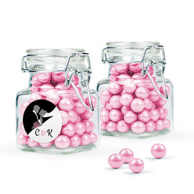 Personalized Wedding Favor Assembled Swing Top Square Jar with Sixlets