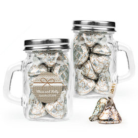 Personalized Wedding Favor Assembled Mini Mason Mug with Hershey's Kisses