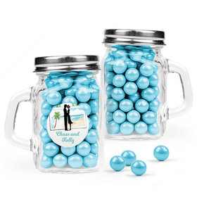 Personalized Wedding Favor Assembled Mini Mason Mug with Sixlets