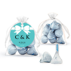 Personalized Wedding Favor Assembled Organza Bag with Hershey's Kisses