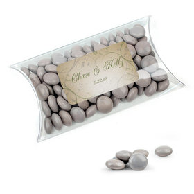 Personalized Wedding Favor Assembled Pillow Box with Just Candy Milk Chocolate Minis