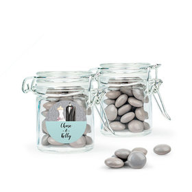 Personalized Wedding Favor Assembled Swing Top Round Jar with Just Candy Milk Chocolate Minis