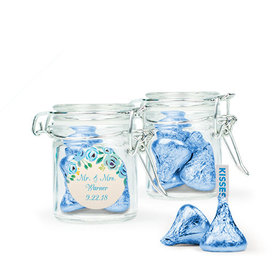 Personalized Wedding Favor Assembled Swing Top Round Jar with Hershey's Kisses