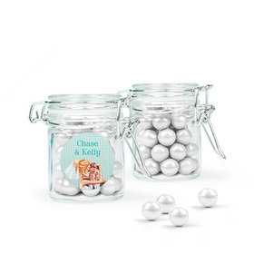 Personalized Wedding Favor Assembled Swing Top Round Jar with Sixlets
