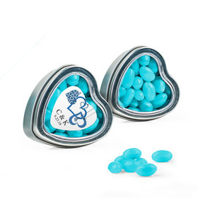 Personalized Wedding Favor Assembled Heart Tin with Just Candy Jelly Beans