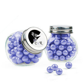 Personalized Wedding Favor Assembled Mini Side Jar with Sixlets