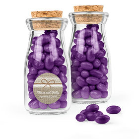 Personalized Wedding Favor Assembled Glass Bottle with Cork Top with Just Candy Jelly Beans