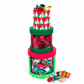 Three Tier Holiday Gift Boxes with Hershey's Holiday Mix