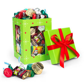 Green Christmas Window Gift Box with Hershey's Holiday Chocolate Mix