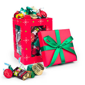 Red Christmas Window Gift Box with Hershey's Holiday Chocolate Mix