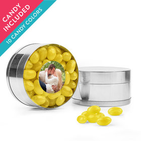 Personalized Rehearsal Dinner Favor Assembled Small Round Plastic Tin with Just Candy Jelly Beans