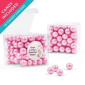 Personalized Rehearsal Dinner Favor Assembled Clear Box with Sixlets