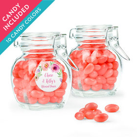 Personalized Rehearsal Dinner Favor Assembled Swing Top Jar with Just Candy Jelly Beans