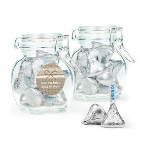 Personalized Rehearsal Dinner Favor Assembled Swing Top Jar with Hershey's Kisses
