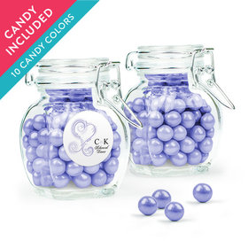 Personalized Rehearsal Dinner Favor Assembled Swing Top Jar with Sixlets